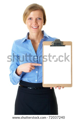 businesswoman in blue stripped shirt holds clipboard with A4 size white card, isolated on white - stock photo