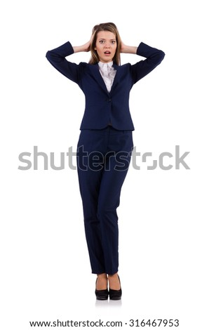 Businesswoman in blue suit isolated on white - stock photo