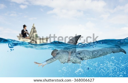 Businesswoman in boat made of dollar banknote - stock photo