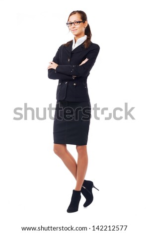 Businesswoman in classic black suite isolated on white - stock photo