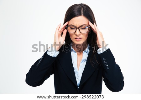 Businesswoman in glasses having headache isolated on a white background - stock photo