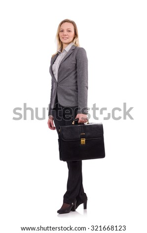 Businesswoman in gray suit isolated on white - stock photo