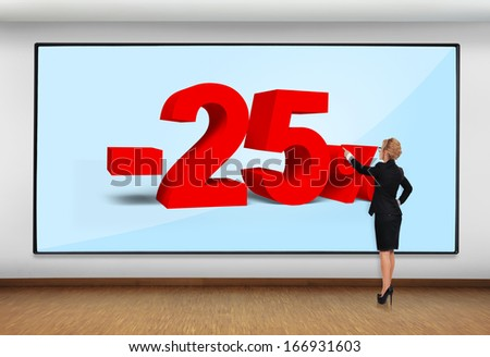 businesswoman in office pointing to big plasma with  discount - stock photo