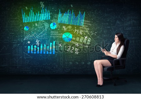 Businesswoman in office with tablet in hand and high tech graph charts concept on background - stock photo