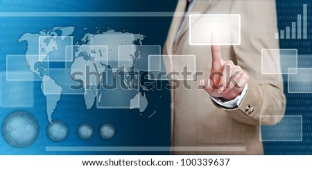businesswoman in virtual interface pressing a button with her finger - future business solutions - stock photo