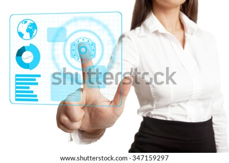 Businesswoman in white blouse pressing something on touch screen - stock photo