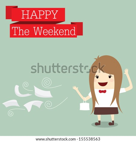 businesswoman is go to shopping happy at the weekend relax time after work hard, business concept - stock photo