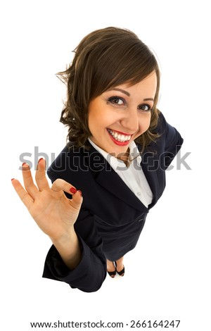 Businesswoman isolated on white background shot with wide angle lenses - stock photo