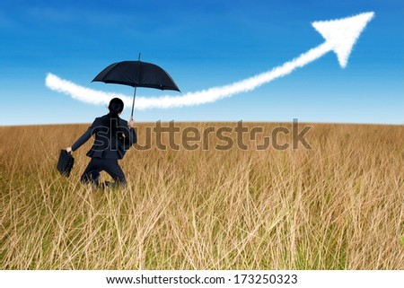Businesswoman jumping to blue sky in grassland with umbrella - stock photo