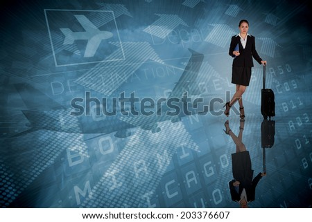 Businesswoman leaning on her suitcase holding tablet pc against blue departures board for american cities - stock photo