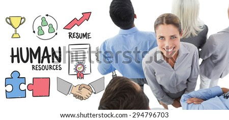 Businesswoman looking at camera with her colleague around her against human resources doodle - stock photo