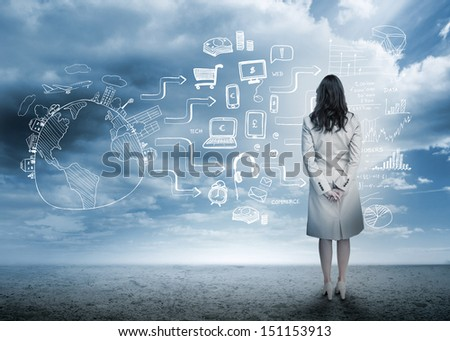 Businesswoman looking out at brainstorm drawings in cloudy landscape - stock photo