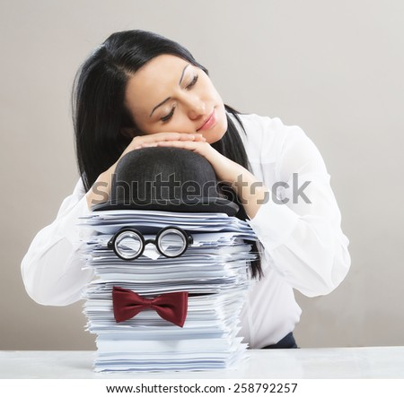 Businesswoman married to her work, concept - stock photo