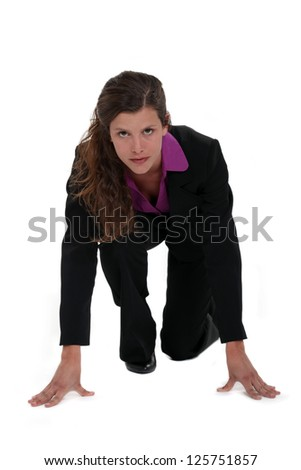 Businesswoman on her marks - stock photo