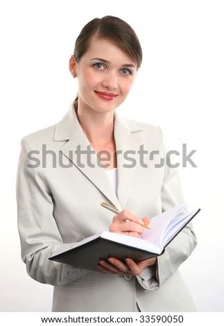 Businesswoman on white background. - stock photo