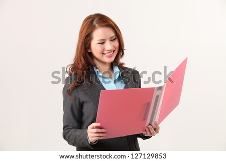 businesswoman open a document file - stock photo