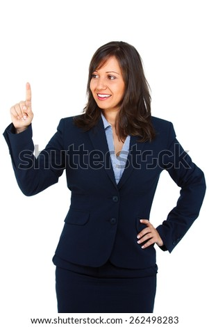 Businesswoman pointing with a finger isolated on white background - stock photo