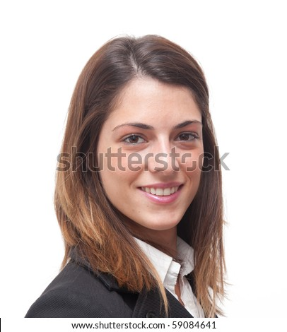 Businesswoman portrait isolated on white - stock photo