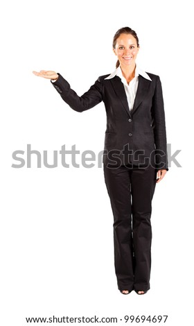 businesswoman presenting on white background - stock photo