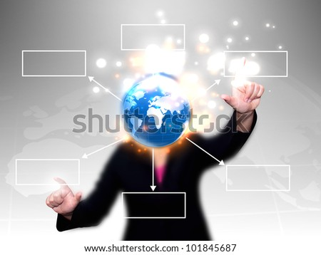 businesswoman press world diagram - stock photo