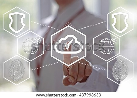 Businesswoman presses button with cloud on the virtual panel. Cloud technologies in business. Electronic technology in the business. - stock photo
