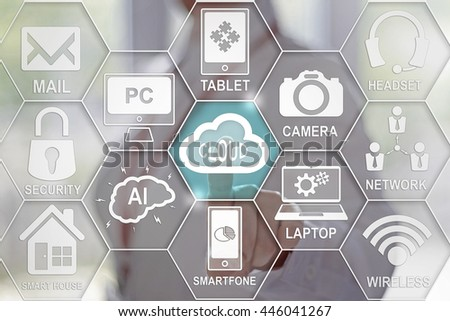 Businesswoman presses button with cloud on the virtual panel. Cloud technologies in business. Cloud button on a touch screen. Storage and data services in the business. Businessman, storage, wireless. - stock photo