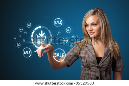 Businesswoman pressing promotion and shipping type of modern buttons - stock photo