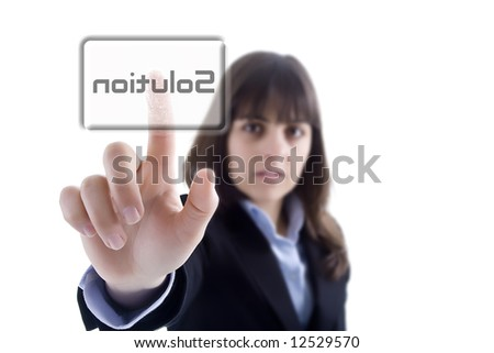 businesswoman pressing the solution button isolated in white background - stock photo
