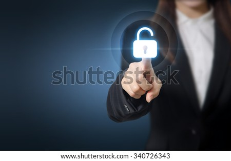 Businesswoman pressing unlocking on virtual screens, technology for cyber attack, computer crime, information security and data encryption. Copy space. - stock photo