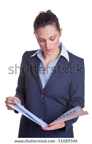 Businesswoman reading some documents in a file, isolated on a white background. - stock photo