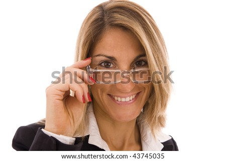 Businesswoman's portrait with glasses isolated on white - stock photo