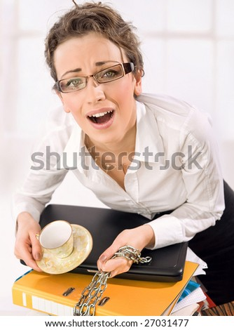 Businesswoman screaming - stock photo