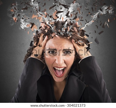Businesswoman screaming with her head in smoke - stock photo