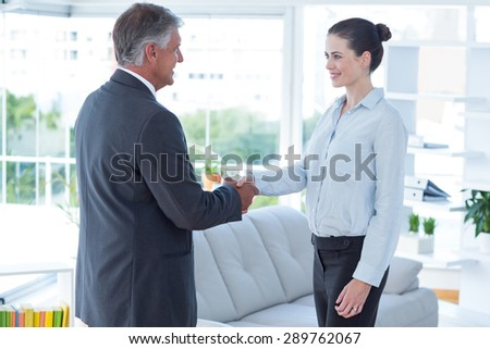 Businesswoman shaking hands with a businessman in an office - stock photo