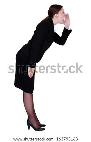 businesswoman shouting - stock photo