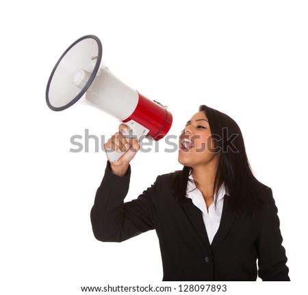 Businesswoman Shouting On Megaphone. Isolated On White - stock photo