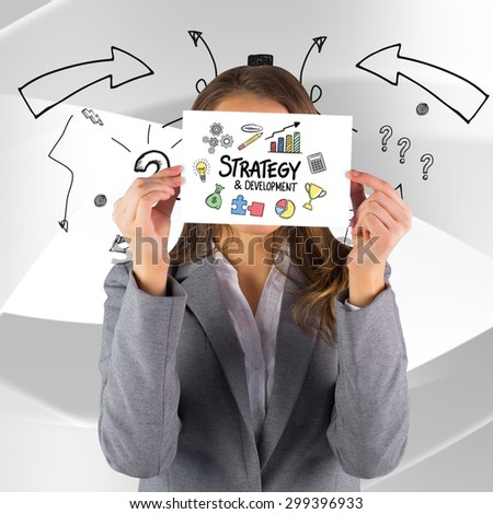 Businesswoman showing a card against white angular design - stock photo