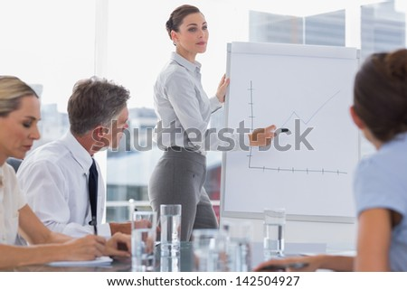 Businesswoman showing a chart on a whiteboard during a meeting - stock photo