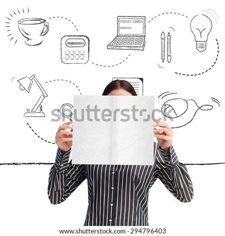 Businesswoman showing a white card in front of her face against office supplies doodle - stock photo