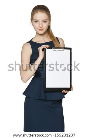 Businesswoman showing blank white paper clipboard, over white background - stock photo