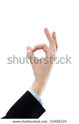 businesswoman showing ok sign on white background - stock photo