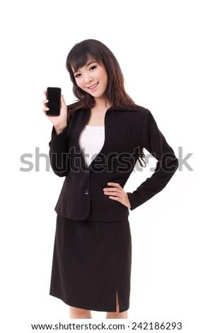 businesswoman showing smartphone, studio isolated - stock photo