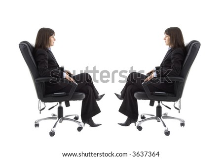 Businesswoman sitting on the chair with mirror image isolated in white background - stock photo