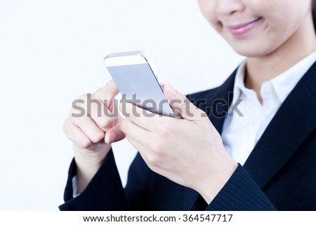 Businesswoman smart phone cellphone mobile phone swipe Internet - stock photo