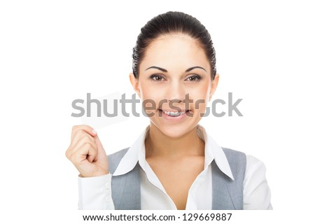Businesswoman smile hold blank business card, young attractive business woman give visiting, credit card with empty copy space, isolated over white background - stock photo