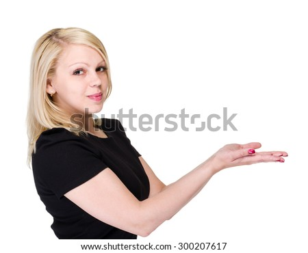 Businesswoman smile hold open palm with empty copy space, showing hand sign to side, concept of advertisement product, isolated over white background - stock photo