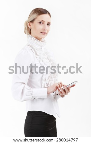 Businesswoman speaking on the mobile phone - stock photo