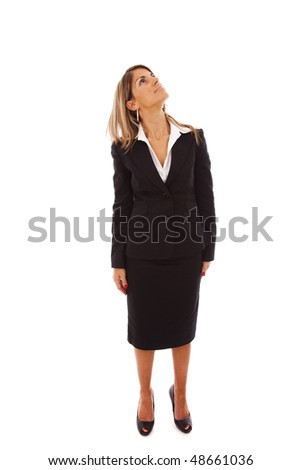 businesswoman standing with his head looking up (isolated on white) - stock photo