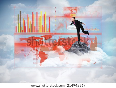 Businesswoman stepping and balancing against mountain peak through the clouds - stock photo