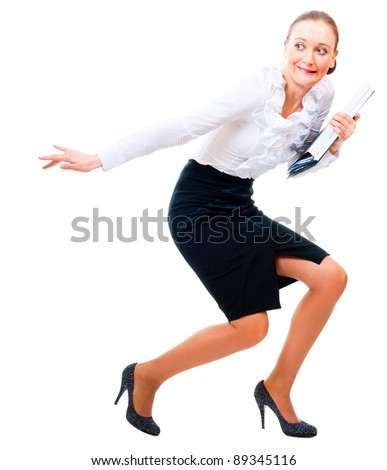 Businesswoman stole the secret files. Isolated over white background - stock photo
